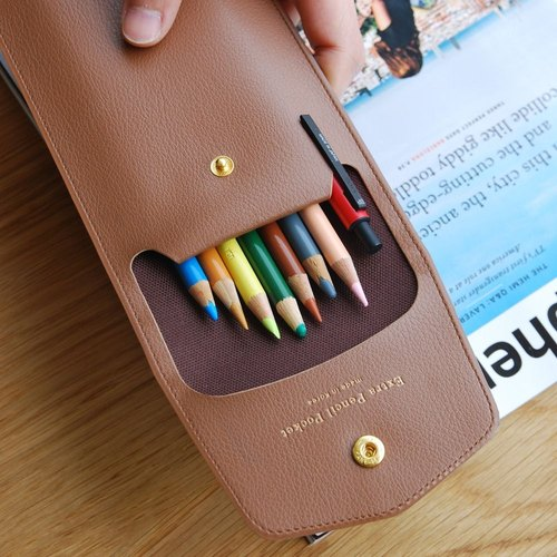 PLEPIC - Treasure Imitation Gold Buckle Pencil Case - Mocha Brown, PPC93532