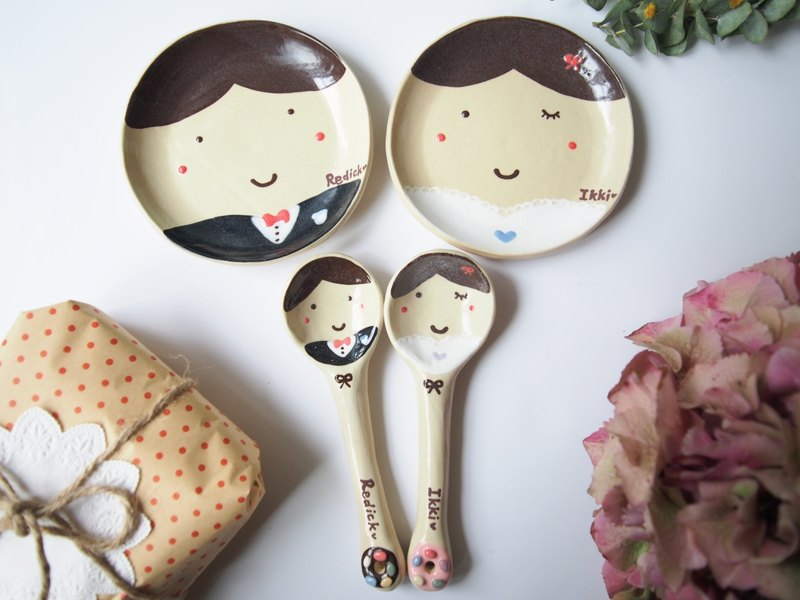Sweet couple wedding set and spoon set / name