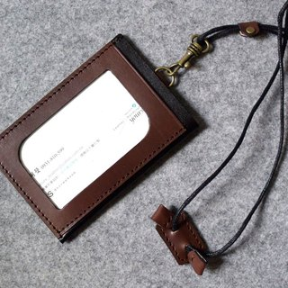 YOURS handmade leather three pocket light documents folder / purse dark wood + personality black leather (with adjustable length neck strap)
