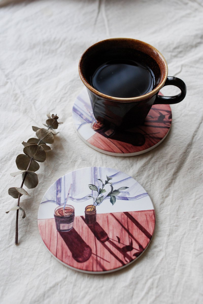 Silver-Yang hand-painted illustration | ceramic water coaster || favorite coffee shop