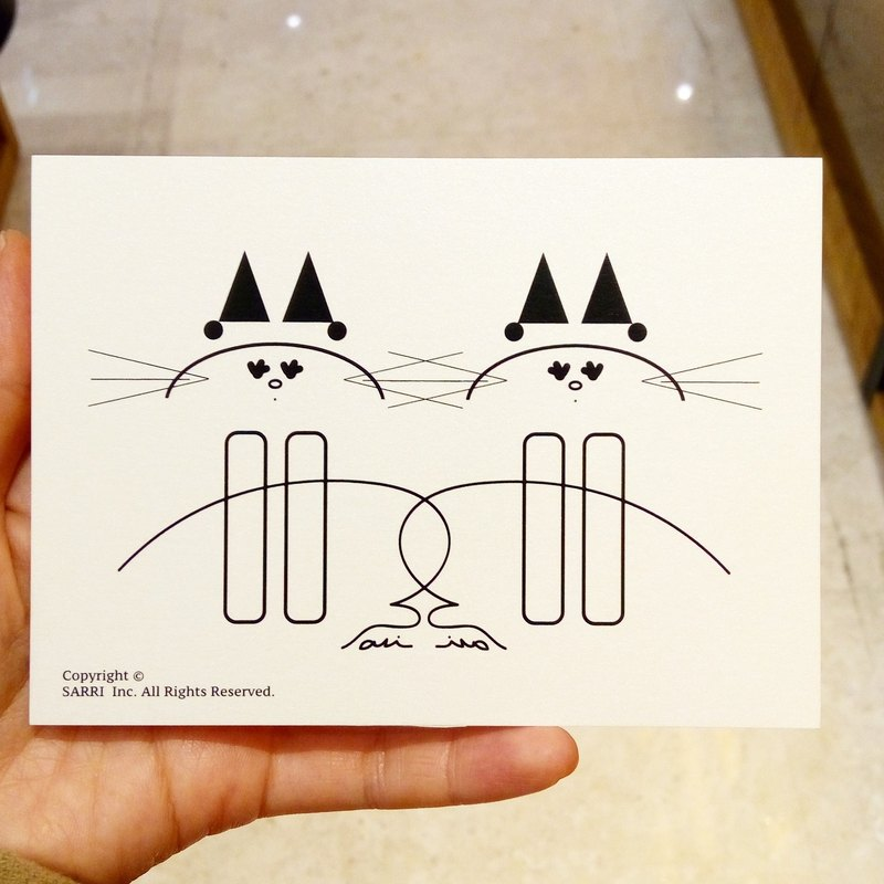 """Twin cats"" postcards birthday card design coloring illustration card this card universal card arts and the arts modern lover love special fun strange weird cute Taiwan yellow fun funny eye-catching tide art glitter flash cool different famous lo"