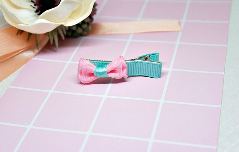 Girls Hair Accessories => Light Blue Bow - Hair Clip Series - (Mail Free) #女孩儿头饰