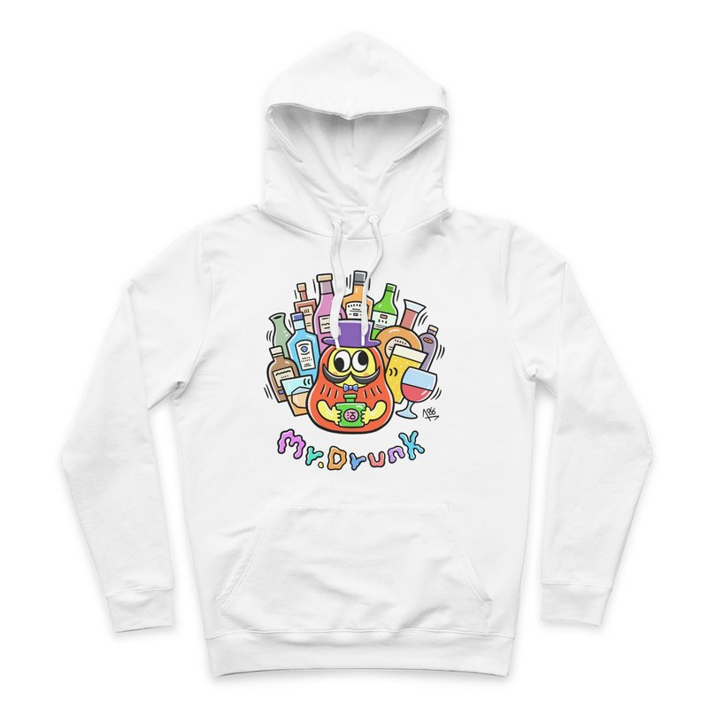 Mr.DRUNK- White - Hooded T-Shirt