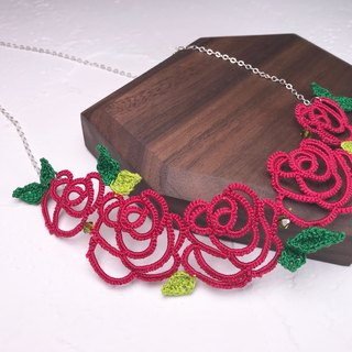 tatted rose necklace (red) / gift / Swarovski crystal / customize