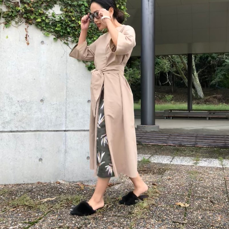 3way ribbon turning back autumn color khaki one-piece dress