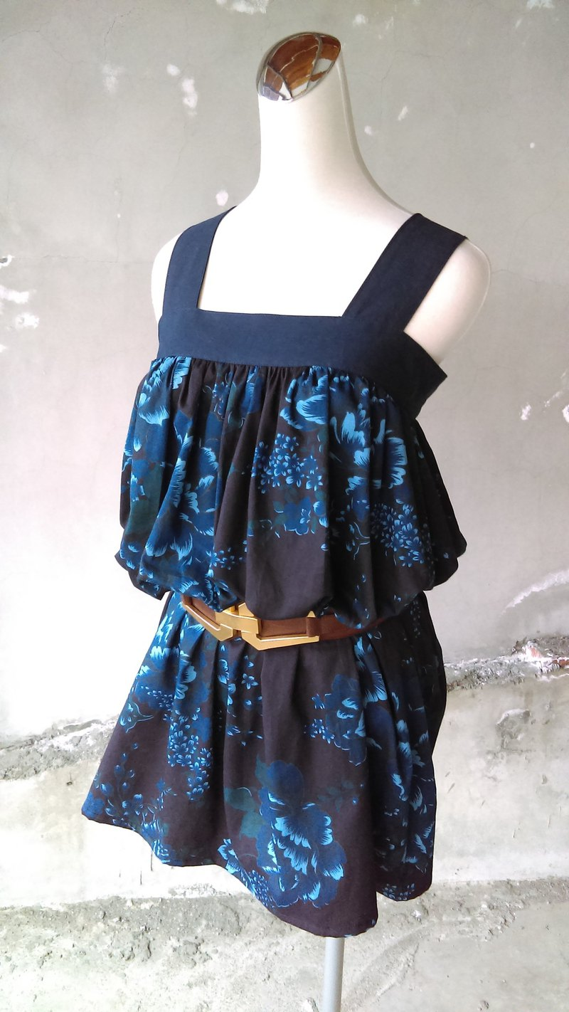 Know Dye Life - Natural Blue Stained Shoulder Strap Long Dress