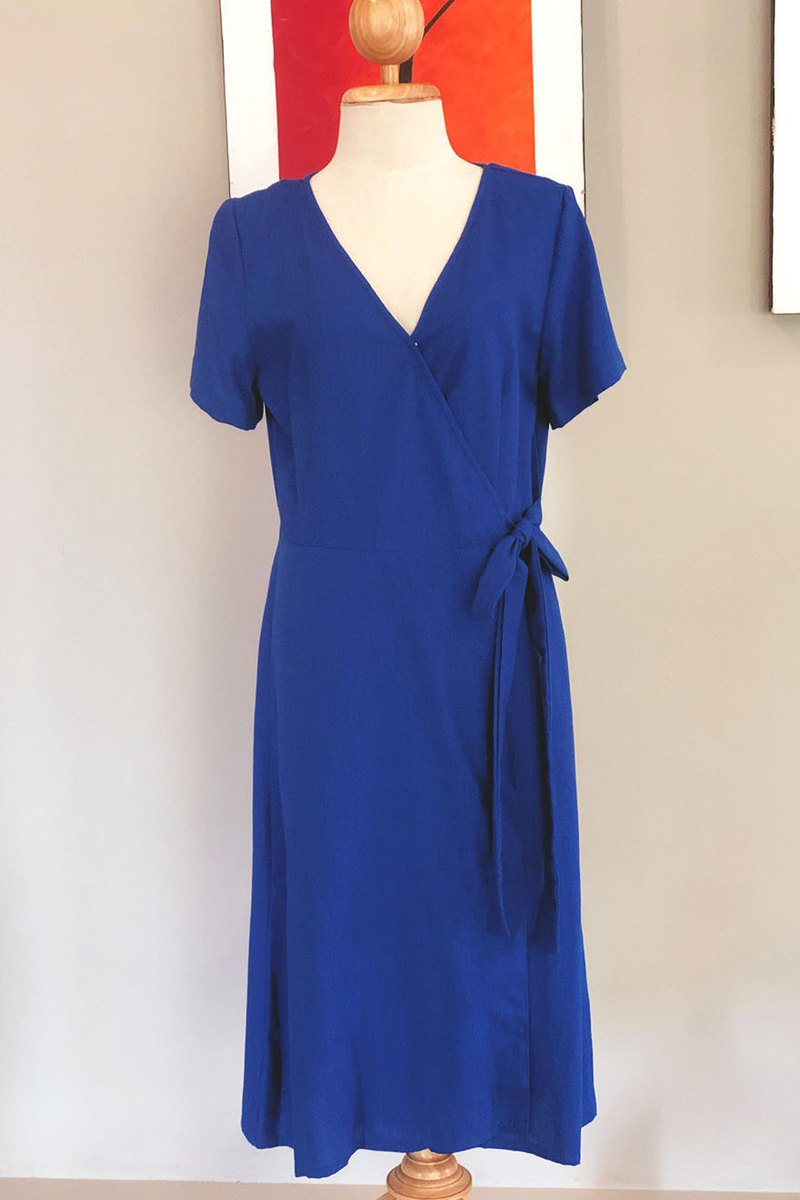 Rebecca Linen Dress | Navy blue wrap dress | Summer dress