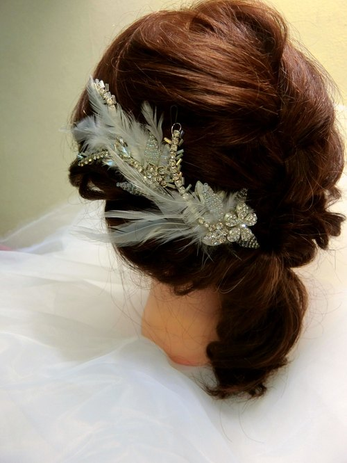 Drill ethereal feather hand-made bridal headdress