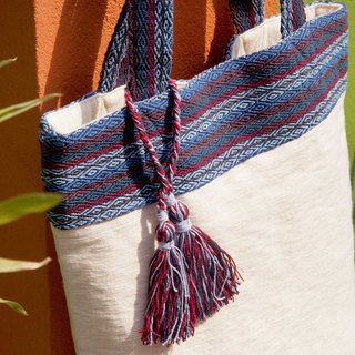 Cotton and linen hand-woven bag Lightweight Messenger Bag Side Backpack Shoulder Bag Tote Bag Shopping Bag - Moroccan Blue