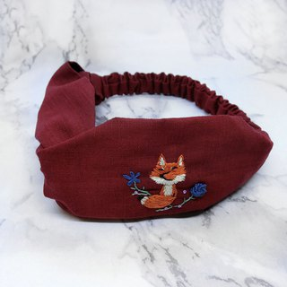 [Shell art] fox and rose 100% pure hand-embroidered hair band