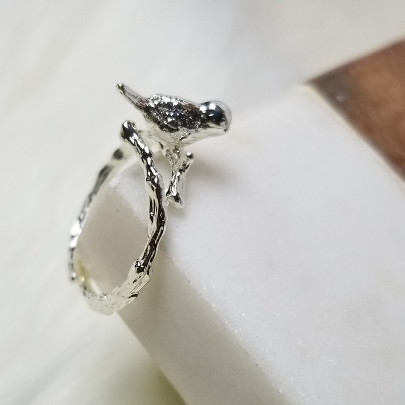 Silver little bird ring