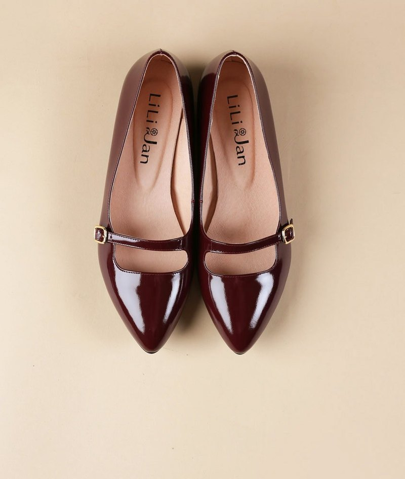 【Mirror Mirror】Mary Jane retro elegant low-heeled shoes _ gorgeous red wine