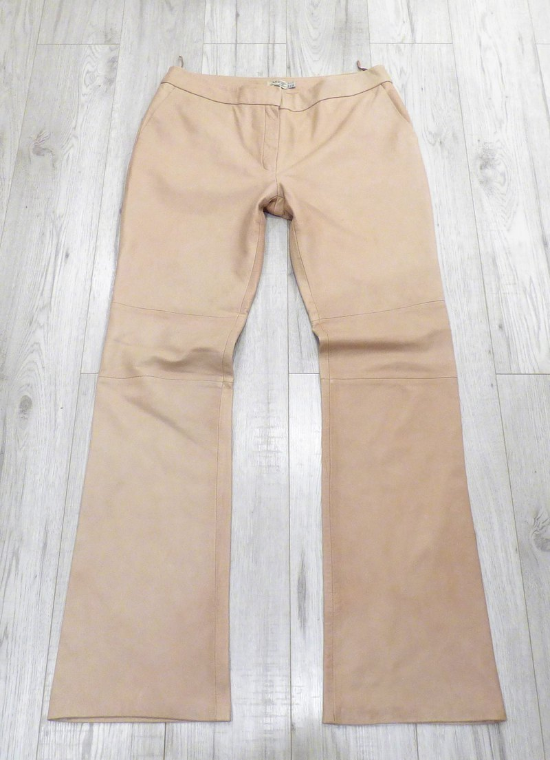 Women's Vintage MNG MANGO Bootcut Cream Real Leather Jeans Pants W34 L35