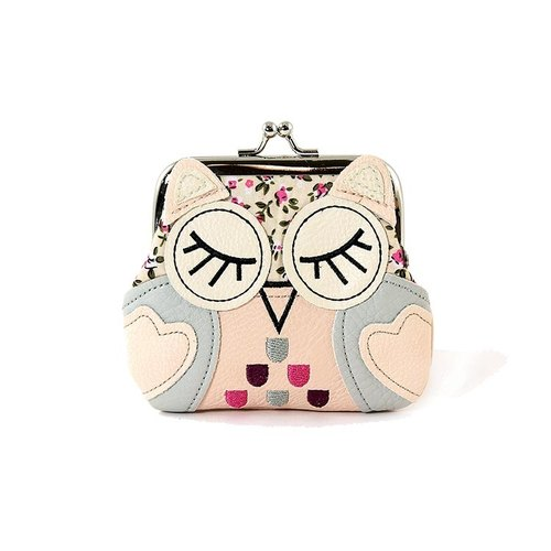 Sleepyville Critters - Sleeping Owl Kisslock Coin Purse - peach color