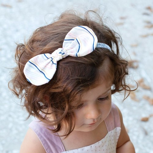 United States Joli Sophie cotton butterfly silver onion hair band 2 into the dark blue stripes JSHB2NLWS 1-3 years old