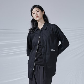 DYCTEAM - BLACK simple shirt 拉鍊長版襯衫