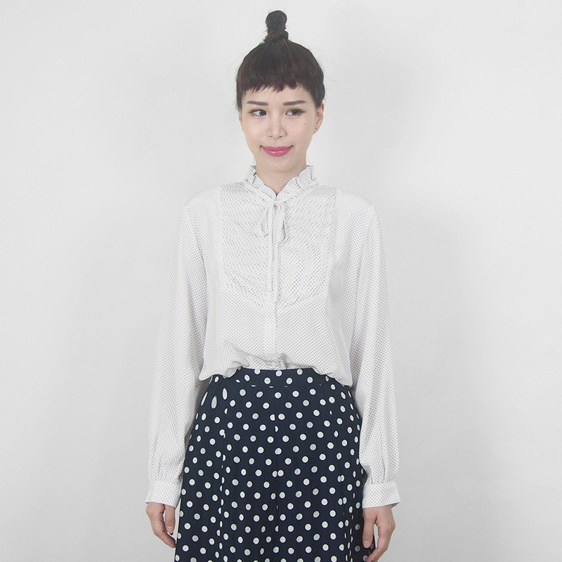 White - haired little white - leafed collar collar with chiffon ancient long - sleeved shirt