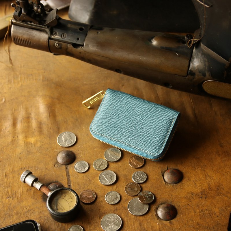 日本製造 硬幣錢包 牛皮 天藍 Weinheimer made in JAPAN handmade leather wallet coincase