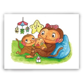 [Mother's Day] hand-painted illustration mother card / useless card / card / postcard / illustration card - monkey monkey mother smile sweet bear with child baby