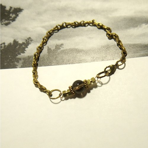 茶水晶黃銅手鍊/ brass/bracelet/accessories