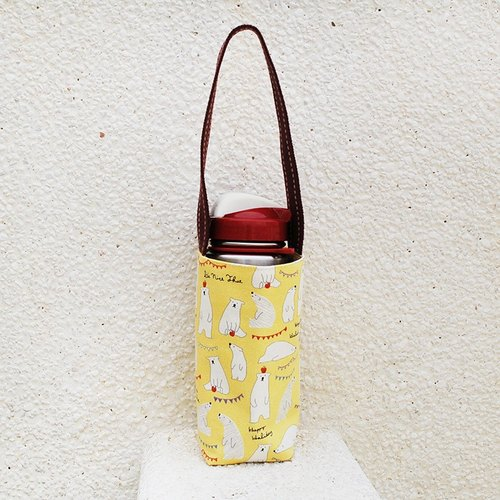 Apple polar bear water bottle bag _ yellow / cup sets