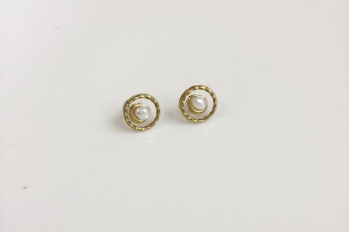 Small twist braided pearl brass styling earrings