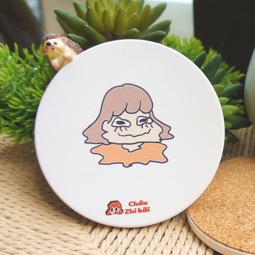 "Super straightforward - ""I'm melting!"" [] Ceramic water coaster"
