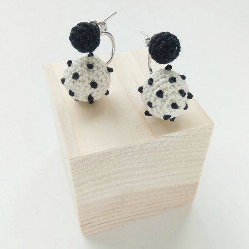 White Polka Dots Crochet Earrings