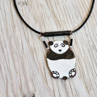 Panda, Jewelry, Panda Jewelry, Panda Necklace, Enamel Necklace, Enamel Pendant, Boho Necklace, Panda Shaped Necklace, Boho Enamel Necklace,