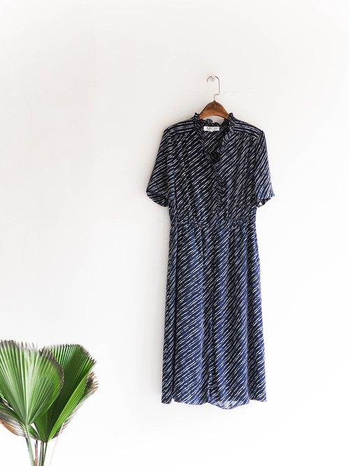 River Water Mountain - Wakayama Deep Blue Black Wave Ripple Log Antique One-piece Silk Dresses overalls oversize vintage dress