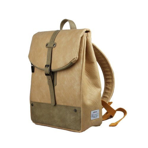 AMINAH- simple beige leather backpacks [am-0304]