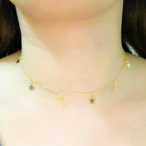 Initial Personalized 16K Gold Plated Choker Cift Simply Chic Bridesmaid Birthday