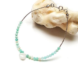 <Light Mature Women Series - Lucky> Tianhe Stone x Moonstone 925 Sterling Silver Bracelet Customization