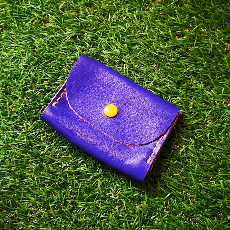 Double-layer card leather coin purse - blue purple leather
