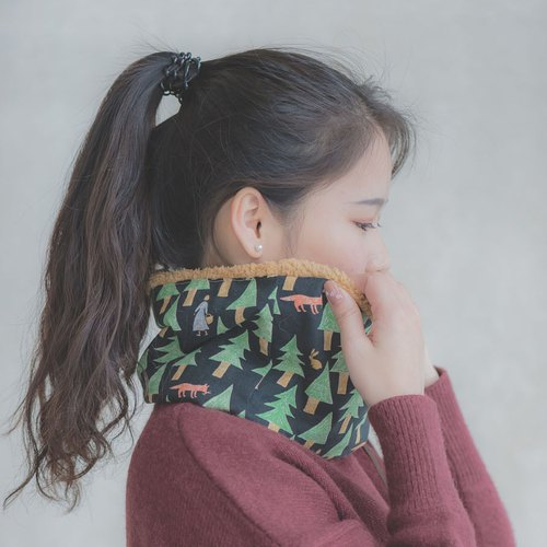 [Fairy tale in the forest] Black - Imitation wool fleece neck warm jacket # Neck # scarves # # cold warm # elegance