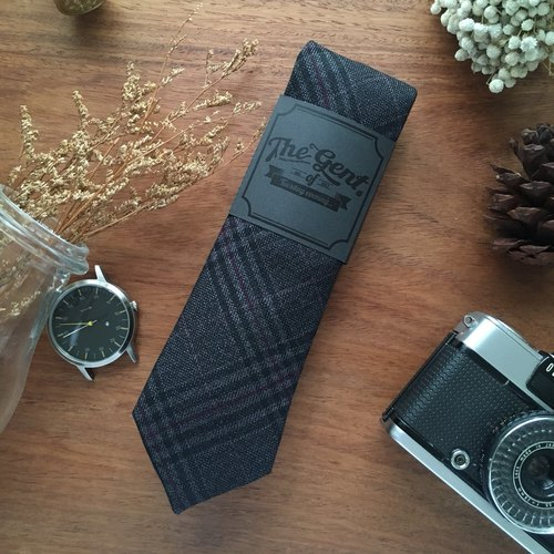 (THE GENT) Neck Tie Dark Grey Red Madras Plaid