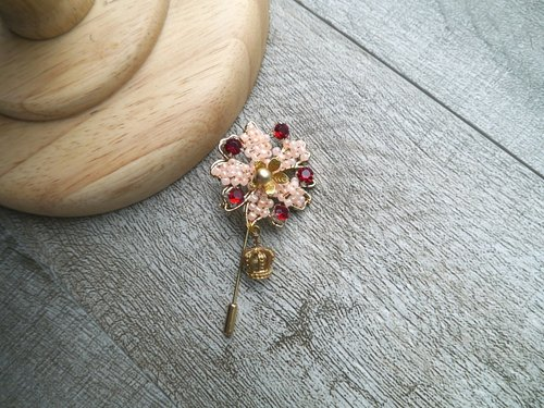 Flowers retro brooch | Rhinestone jewelry gemstone flower groom lapel lapel pin brooch pin vintage brooch personality Hand