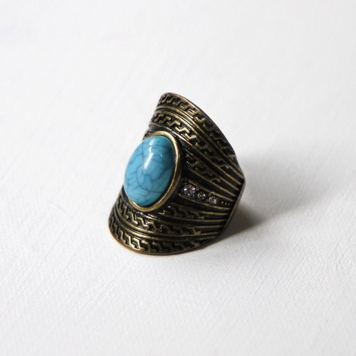 [Egg plant ancient] turquoise blue retro antique ring