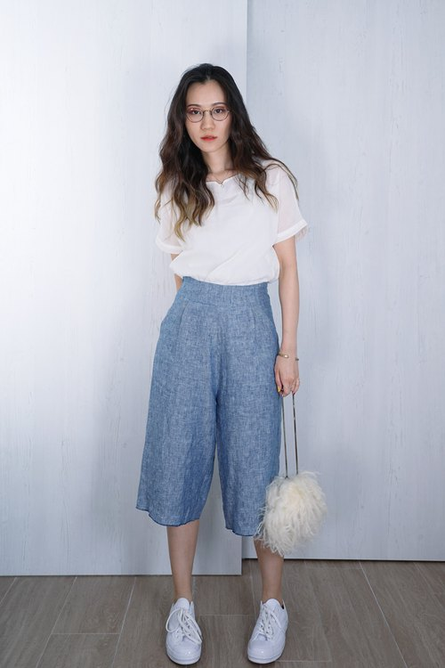 OUD Original. Linen Wide-leg Midi Pants with Raw Hem. XS-XXL/ Customized Size