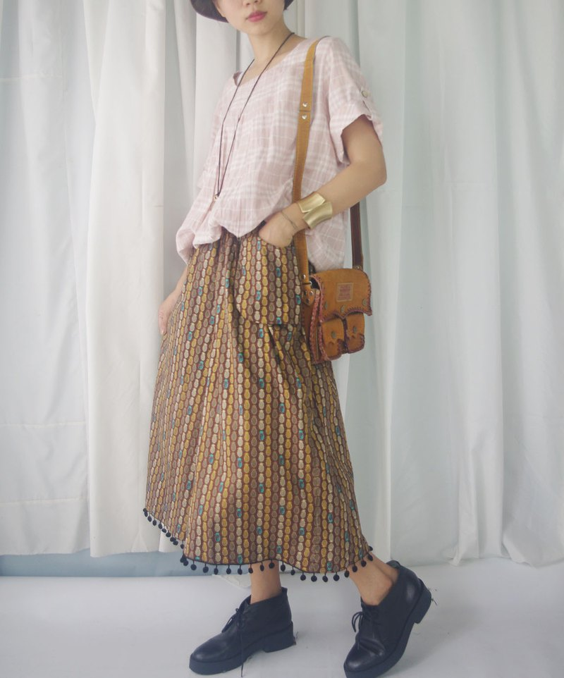 Design hand made - summer pineapple printed outover pocket ball wide skirt
