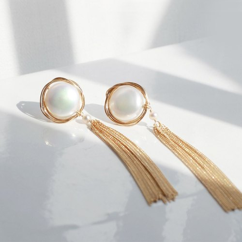MissQueeny hustle and bustle of a dream Vintage gold silk natural pearl tassel earrings