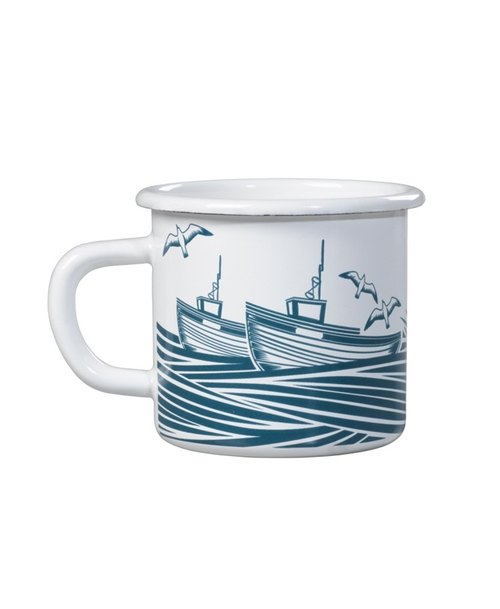SUSS-British imports Wild & Wolf design home boat on the sea enamel mug - Spot Free Shipping