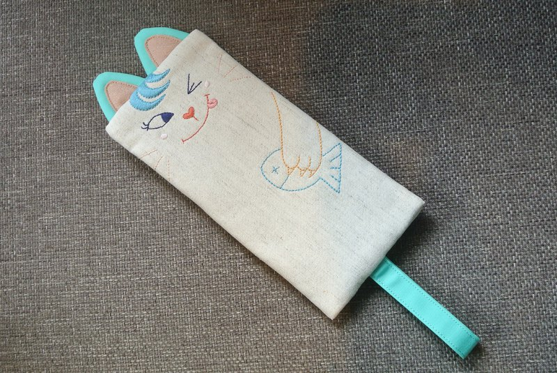 Cat catch fish - tongue playful blue cat - pencil