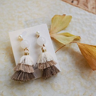 Earth tone tassel White Agate Non allergic  earrings