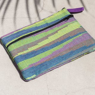 Handmade canvas cosmetic bag national wind bag leisure card set mobile phone bag purse earphone bag - green grass original