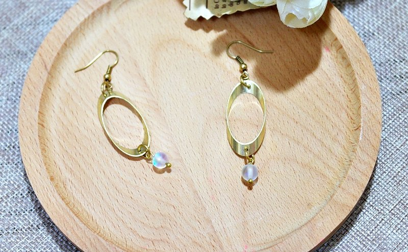 Brass natural stone * flash * X - Hook Earrings