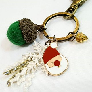 Paris*Le Bonheun. Happy forest. Santa Claus. Wool felt acorn pine cone key ring
