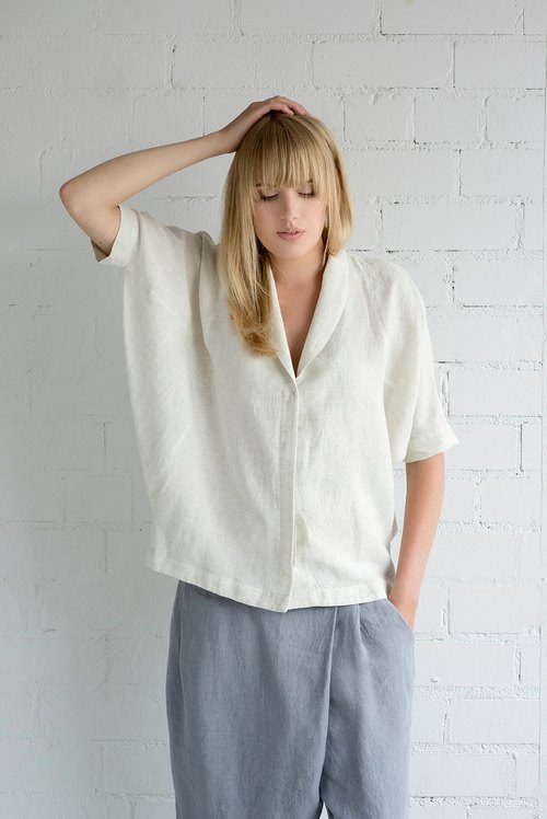 Linen Blouse Motumo – 17P3 / Handmade loose linen summer blouse with midi sleeves / Washed linen blouse