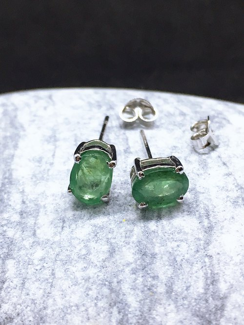 Emerald Ear top Made in India 92.5% Silver