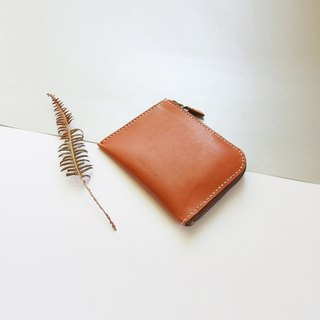 Classic L zipper accompanying short clip - light brown - Leather / purse / fashion / hand-made / practical / color